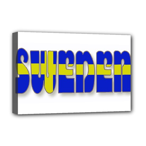 Flag Spells Sweden Deluxe Canvas 18  X 12  (framed)