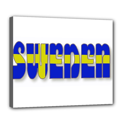 Flag Spells Sweden Deluxe Canvas 24  x 20  (Framed)