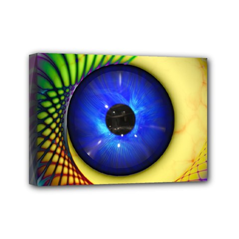 Eerie Psychedelic Eye Mini Canvas 7  X 5  (framed)
