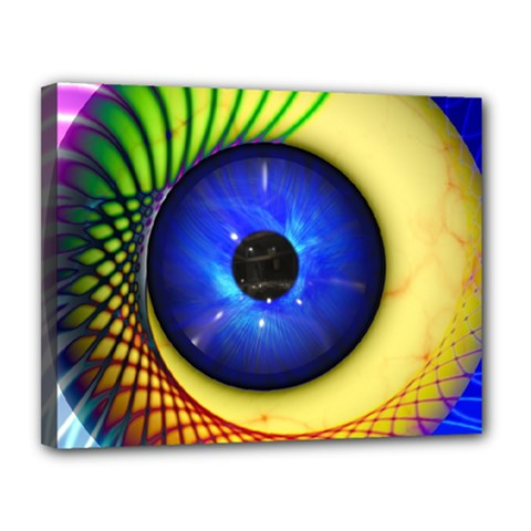 Eerie Psychedelic Eye Canvas 14  x 11  (Framed)