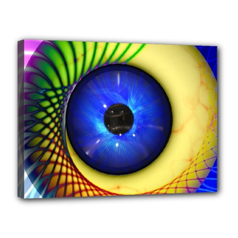 Eerie Psychedelic Eye Canvas 16  x 12  (Framed)