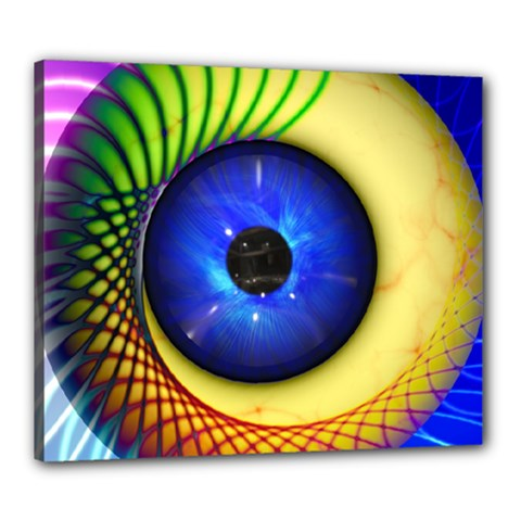 Eerie Psychedelic Eye Canvas 24  x 20  (Framed)