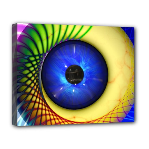Eerie Psychedelic Eye Deluxe Canvas 20  x 16  (Framed)