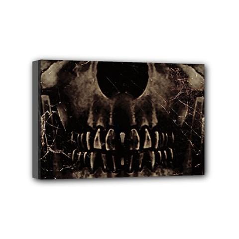 Skull Poster Background Mini Canvas 6  x 4  (Framed)
