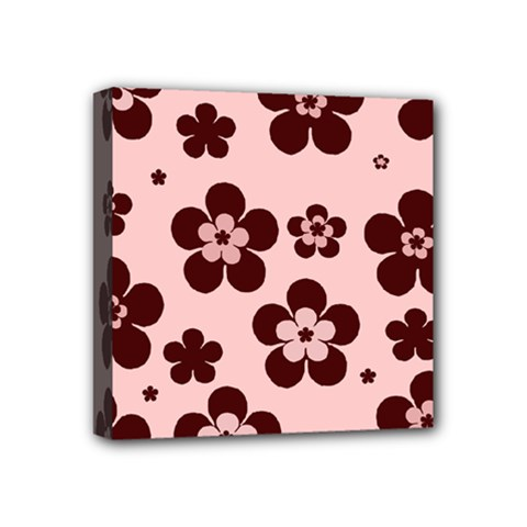 Pink With Brown Flowers Mini Canvas 4  x 4  (Framed)