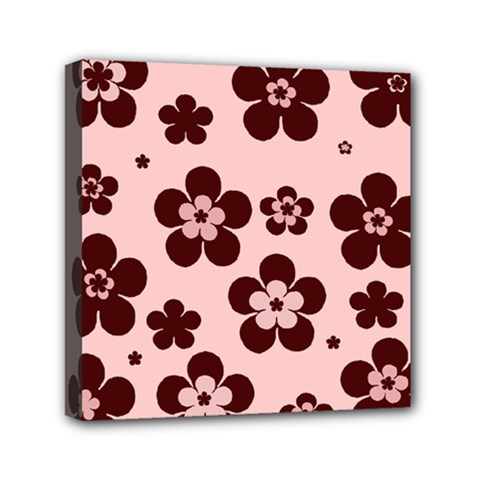 Pink With Brown Flowers Mini Canvas 6  X 6  (framed)