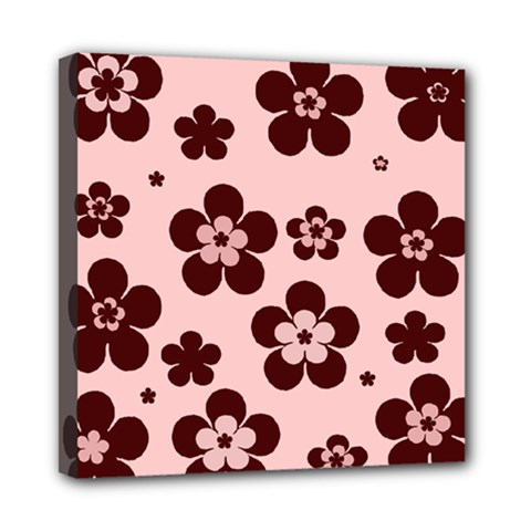 Pink With Brown Flowers Mini Canvas 8  X 8  (framed)
