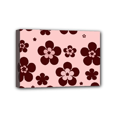 Pink With Brown Flowers Mini Canvas 6  x 4  (Framed)