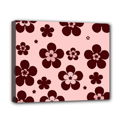 Pink With Brown Flowers Canvas 10  x 8  (Framed)