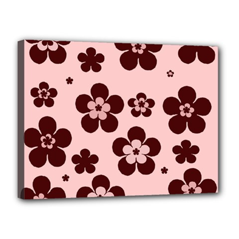 Pink With Brown Flowers Canvas 16  x 12  (Framed)