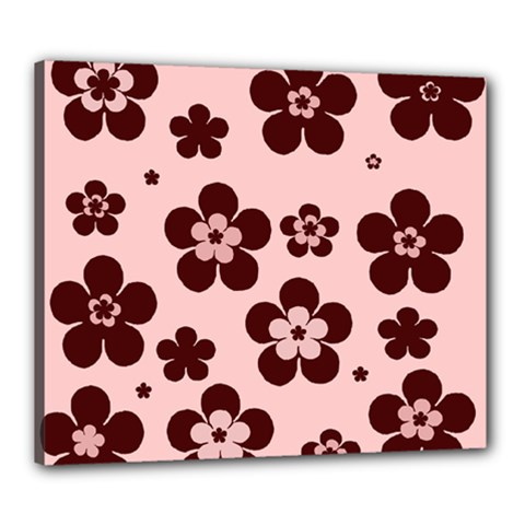 Pink With Brown Flowers Canvas 24  x 20  (Framed)