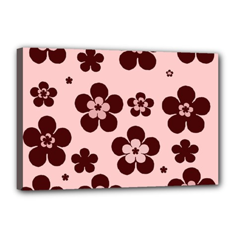 Pink With Brown Flowers Canvas 18  x 12  (Framed)
