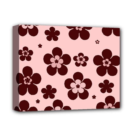 Pink With Brown Flowers Deluxe Canvas 14  X 11  (framed)