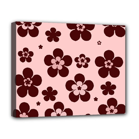 Pink With Brown Flowers Deluxe Canvas 20  x 16  (Framed)