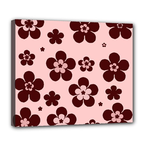 Pink With Brown Flowers Deluxe Canvas 24  x 20  (Framed)