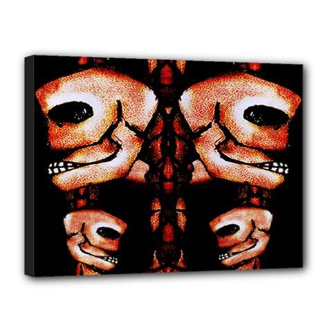 Skull Motif Ornament Canvas 16  x 12  (Framed)