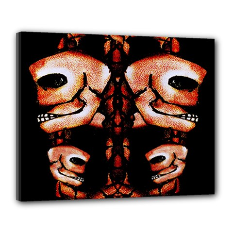 Skull Motif Ornament Canvas 20  x 16  (Framed)