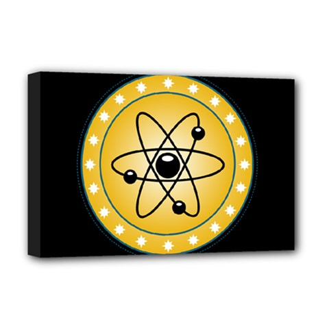 Atom Symbol Deluxe Canvas 18  x 12  (Framed)