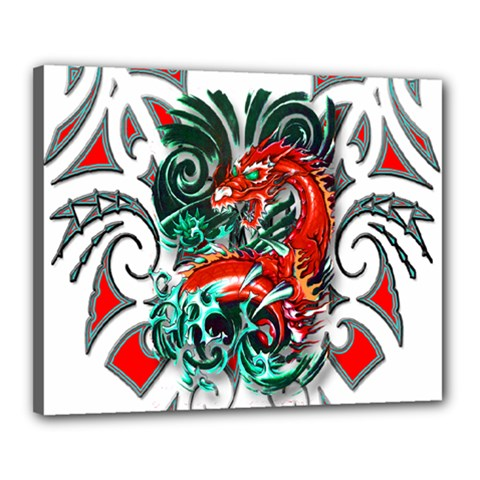 Tribal Dragon Canvas 20  x 16  (Framed)