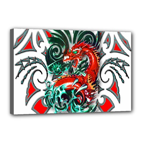 Tribal Dragon Canvas 18  x 12  (Framed)
