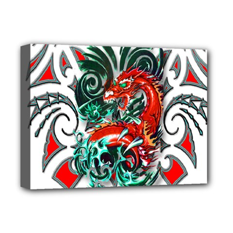 Tribal Dragon Deluxe Canvas 16  x 12  (Framed)