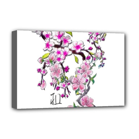Cherry Bloom Spring Deluxe Canvas 18  x 12  (Framed)