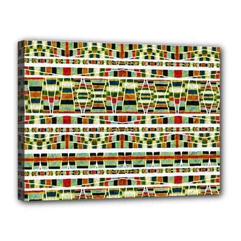 Aztec Grunge Pattern Canvas 16  x 12  (Framed)