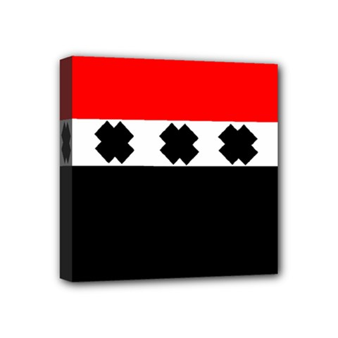 Red, White And Black With X s Design By Celeste Khoncepts Mini Canvas 4  X 4  (framed)