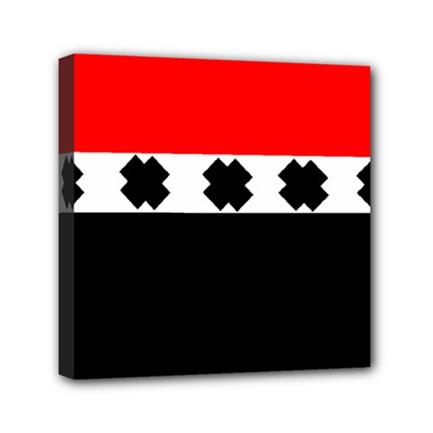 Red, White And Black With X s Design By Celeste Khoncepts Mini Canvas 6  x 6  (Framed)