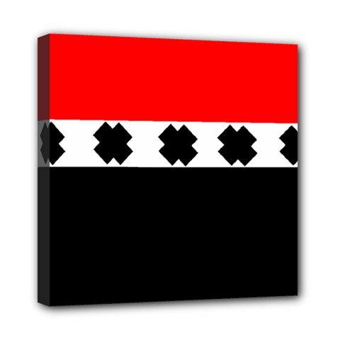 Red, White And Black With X s Design By Celeste Khoncepts Mini Canvas 8  X 8  (framed)