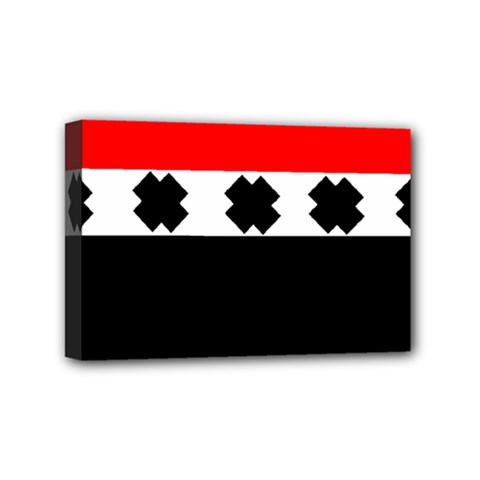 Red, White And Black With X s Design By Celeste Khoncepts Mini Canvas 6  X 4  (framed)