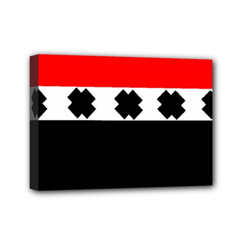 Red, White And Black With X s Design By Celeste Khoncepts Mini Canvas 7  X 5  (framed)