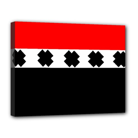 Red, White And Black With X s Design By Celeste Khoncepts Canvas 14  x 11  (Framed)