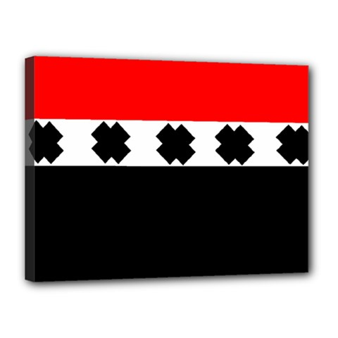 Red, White And Black With X s Design By Celeste Khoncepts Canvas 16  X 12  (framed)