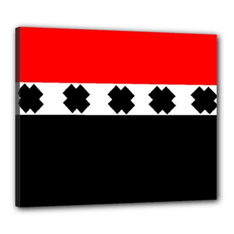 Red, White And Black With X s Design By Celeste Khoncepts Canvas 24  X 20  (framed)