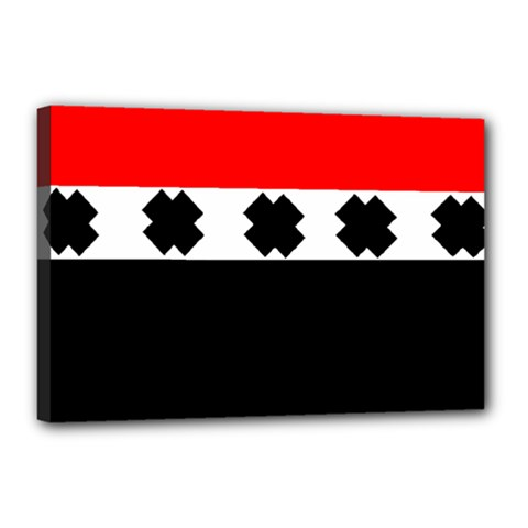 Red, White And Black With X s Design By Celeste Khoncepts Canvas 18  x 12  (Framed)