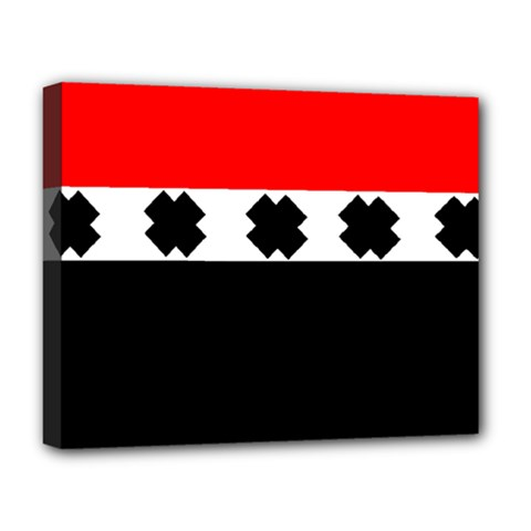 Red, White And Black With X s Design By Celeste Khoncepts Deluxe Canvas 20  X 16  (framed)