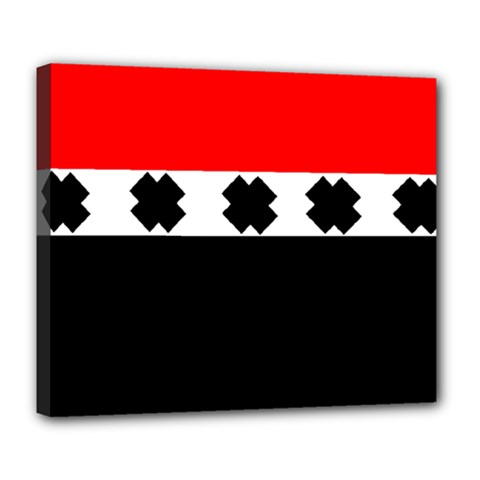 Red, White And Black With X s Design By Celeste Khoncepts Deluxe Canvas 24  X 20  (framed)