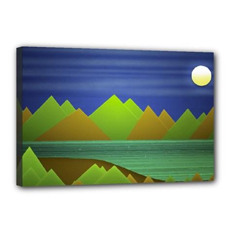 Landscape  Illustration Canvas 18  x 12  (Framed)