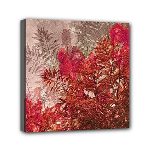 Decorative Flowers Collage Mini Canvas 6  X 6  (framed)