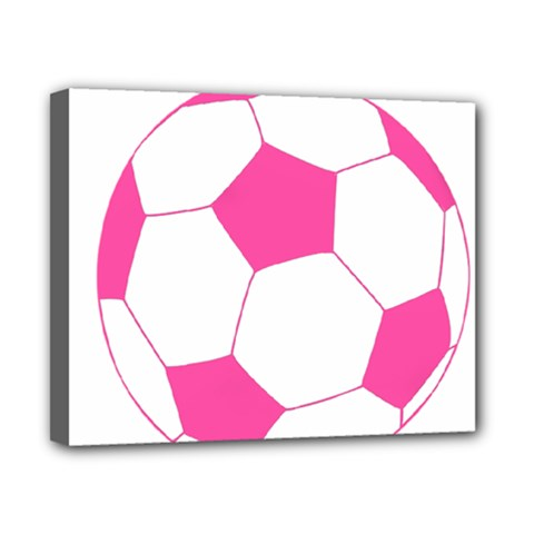 Soccer Ball Pink Canvas 10  x 8  (Framed)