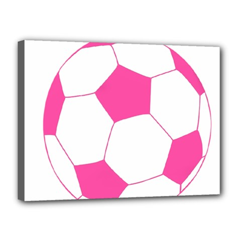 Soccer Ball Pink Canvas 16  x 12  (Framed)