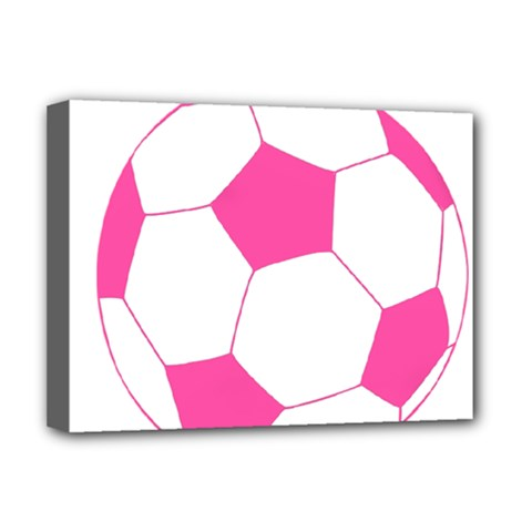 Soccer Ball Pink Deluxe Canvas 16  X 12  (framed)