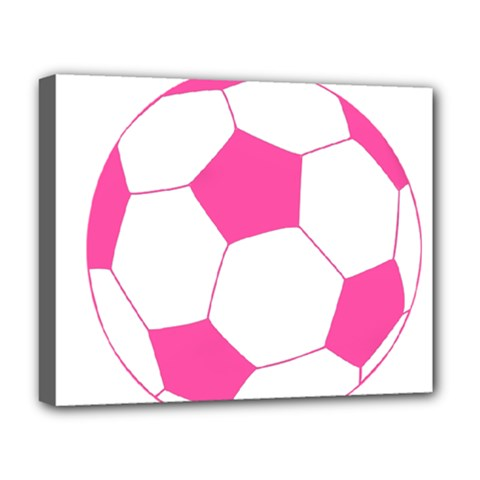Soccer Ball Pink Deluxe Canvas 20  X 16  (framed)