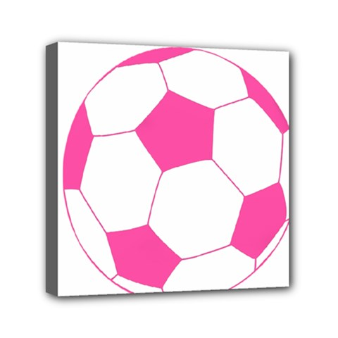 Soccer Ball Pink Mini Canvas 6  x 6  (Framed)