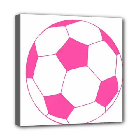 Soccer Ball Pink Mini Canvas 8  X 8  (framed)