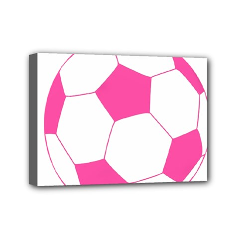Soccer Ball Pink Mini Canvas 7  X 5  (framed)