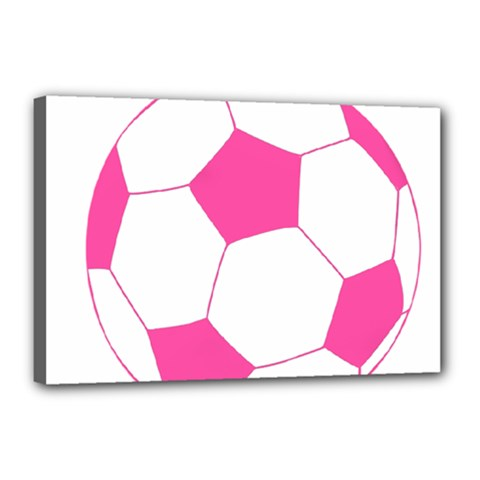 Soccer Ball Pink Canvas 18  x 12  (Framed)