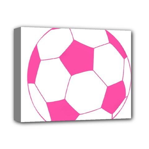 Soccer Ball Pink Deluxe Canvas 14  X 11  (framed)