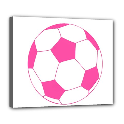 Soccer Ball Pink Deluxe Canvas 24  x 20  (Framed)